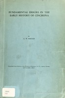 view Fundamental errors in the early history of cinchona / by A.W. Haggis.