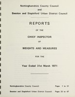 view [Report 1971] / Chief Inspector of Weights and Measures, Nottinghamshire County Council and Beeston & Stapleford U.D.C.