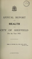 view [Report 1927] / Medical Officer of Health, Sheffield City.