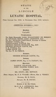 view State of the Lincoln Lunatic Asylum, from January 1st, 1856, to December 31st, 1859, inclusive : [thirty-third report].