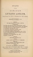 view State of the Lincoln Lunatic Asylum, from January 1st, 1850, to December 31st, 1850, inclusive.
