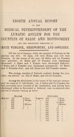 view Eighth annual report of the medical superintendent of the lunatic asylum, for the counties of Salop and Montgomery, and for the boroughs of Much Wenlock, Shrewsbury, and Oswestry. 1852 / [Salop and Montgomeryshire Counties Lunatic Asylum].