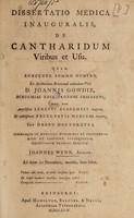 view Dissertatio medica inauguralis, de cantharidum viribus et usu ... / [John Wynn].