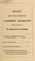 view Read's new patent improved lavement apparatus : manufactured at 35, Regent Circus, Piccadilly.