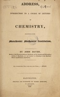 view Address, introductory to a course of lectures on chemistry / [John Davies].