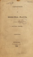view Catalogue of medicinal plants, according to their natural orders / [Andrew Duncan].