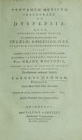 view Tentamen medicum inaugurale de dyspepsia ... / [Charles Newman].