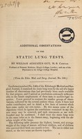 view Additional observations on the static lung tests / [William A. Guy].