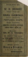 view W.R. Hedges' pocket price list of drugs, chemicals, patent medicines, perfumes, soaps, toilet requisites, domestic and dietetic articles, foreign mineral waters etc / W.R. Hedges.