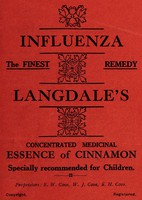 view Influenza : the finest remedy: Langdale's concentrated essence of cinnamon. Specially recommended for children.