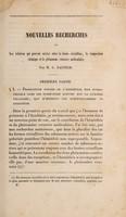view Nouvelles recherches sur les relations qui peuvent exister entre la forme cristalline, la composition chimique et le phénomène rotatoire moléculaire / par L. Pasteur.