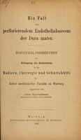 view Ein Fall von perforierendem Endothelialsarcom der Dura mater ... / eingerichtet von Otto Kraushaar.