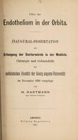 view Ueber das Endotheliom in der Orbita ... / von H. Hartmann.
