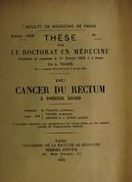 view Du cancer du rectum à évolution latente ... / par A. Verrié.