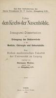 view Ueber den Krebs der Nasenhöhle ... / vorgelegt von Hermann Wolter.