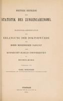 view Weitere Beiträge zur Statistik des Zungencarcinoms ... / vorgelegt von Karl Roediger.