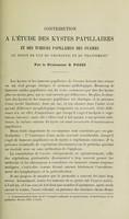 view Contribution à l'étude des kystes papillaires et des tumeurs papillaires des ovaires au point de vue du pronostic et du traitement / par S. Pozzi.