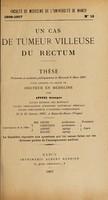 view Un cas de tumeur villeuse du rectum ... / par Georges Apffel.