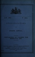 view Specification of Joseph Jewell : preparation of calomel for medicinal use.