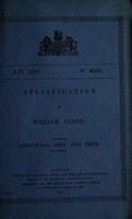 view Specification of William Shand : artificial legs and feet.