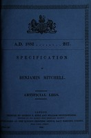 view Specification of Benjamin Mitchell : artificial legs.
