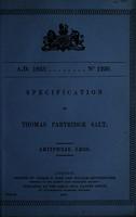 view Specification of Thomas Partridge Salt : artificial legs.