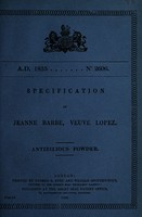 view Specification of Jeanne Barbe, veuve Lopez : antibilious powder.