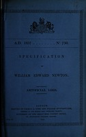 view Specification of William Edward Newton : artificial legs.
