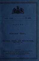 view Patent of Benjamin Okell : pectoral drops for rheumatism, gravel, etc.
