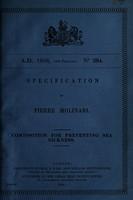 view Specification of Pierre Molinari : composition for preventing sea sickness.