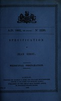 view Specification of Jean Sirou : medicinal preparation.