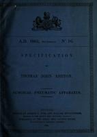 view Specification of Thomas John Ashton : surgical pneumatic apparatus.