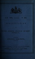 view Specification of Henry Joseph Francis Hubert Foveaux : applying injections.
