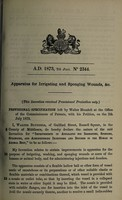 view Specification of Walter Blundell : apparatus for irrigating and sponging wounds, &c.