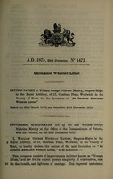 view Specification of William George Nicholas Manley : ambulance wheeled litter.