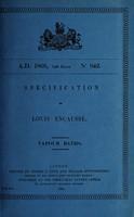 view Specification of Louis Encausse : vapour baths.