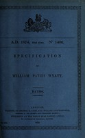 view Specification of William Patch Wyatt : baths.