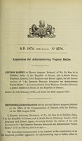 view Specification of Hector Auguste Dufrené : apparatus for administering vapour baths.