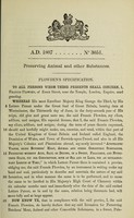 view Specification of Francis Plowden : preserving animal and other substances.