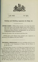view Specification of William Henry Graveley : cooking and distilling apparatus for ships.
