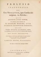 view Prolusio inauguralis, de usu vesicantium, quae cantharides recipiunt, in febribus ... / [Charles Moore].