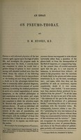 view On pneumo-thorax: an essay, read in part at the Physical Society of Guy's Hospital / [Henry Marshall Hughes].