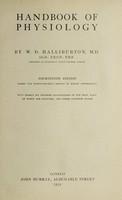 view Handbook of physiology / by W.D. Halliburton.