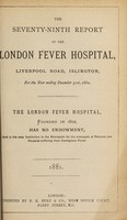 view Report of the London Fever Hospital, Liverpool Road, Islington, for the year ending 31st December 1880.