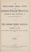 view Report of the London Fever Hospital, Liverpool Road, Islington, for the year ending 31st December 1895.