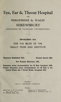view Report of the Eye, Ear and Throat Hospital for Shropshire and Wales : 1940.