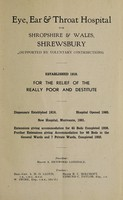 view Report of the Eye, Ear and Throat Hospital for Shropshire and Wales : 1941.