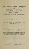 view Report of the Eye, Ear and Throat Hospital for Shropshire and Wales : 1942.