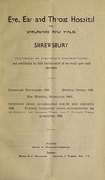 view Report of the Eye, Ear and Throat Hospital for Shropshire and Wales : 1946.