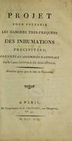 view Projet pour prévenir les dangers très-fréquens des inhumations précipitées; présenté a l'Assemblée Nationale / [Leopold Berchtold].